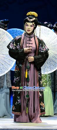 Chinese Han Opera Actress Li Pinger Garment Jin Lian Costumes and Headdress Traditional Hubei Hanchu Opera Diva Apparels Young Mistress Dress