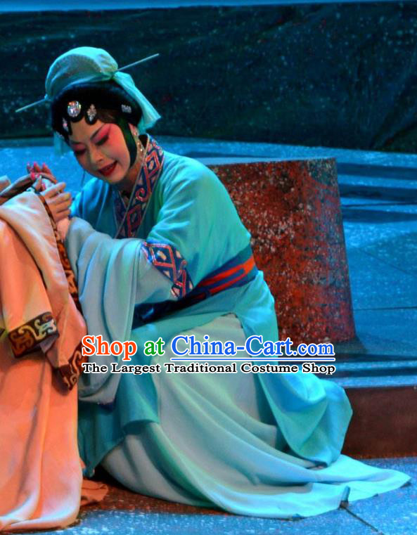 Chinese Han Opera Country Woman Garment Butterfly Dream Costumes and Headdress Traditional Hubei Hanchu Opera Young Female Apparels Blue Dress