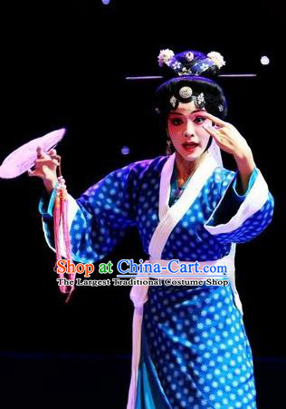 Chinese Han Opera Country Female Garment Butterfly Dream Costumes and Headdress Traditional Hubei Hanchu Opera Young Mistress Apparels Actress Blue Dress
