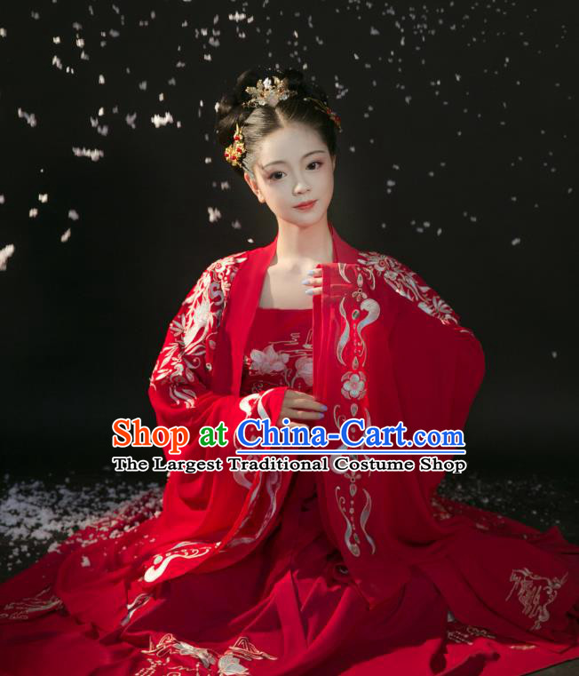 Chinese Ancient Royal Princess Red Dress Traditional Wedding Hanfu Apparels Tang Dynasty Historical Costumes and Headdress Complete Set