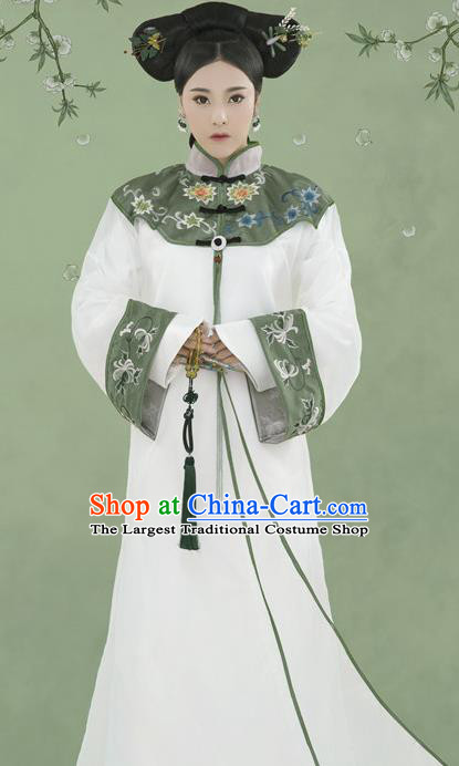 Chinese Drama Ancient Manchu Princess Dress Traditional Court Lady Hanfu Apparels Qing Dynasty Royal Infanta Historical Costumes and Headpieces Complete Set