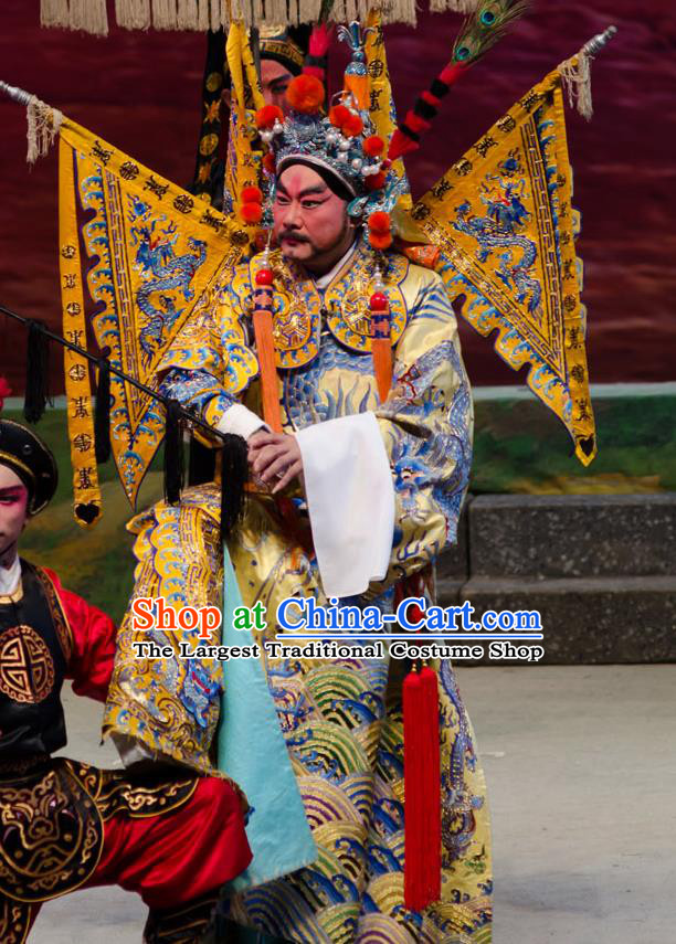The Princess in Distress Chinese Guangdong Opera General Apparels Costumes and Headpieces Traditional Cantonese Opera Military Officer Garment Yelu Junxiong Clothing