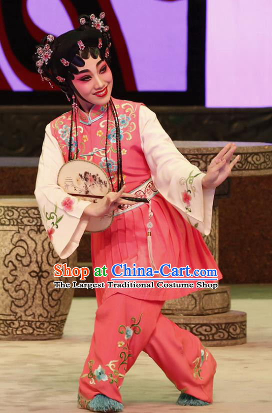 Chinese Cantonese Opera Maid Lady Chun Xiang Garment The Peony Pavilion Costumes and Headdress Traditional Guangdong Opera Servant Girl Apparels Xiaodan Dress