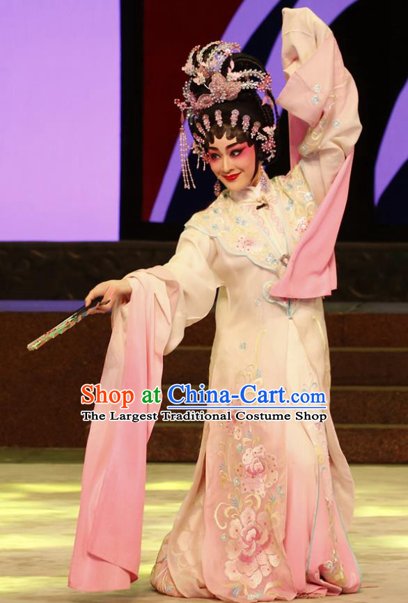 Chinese Cantonese Opera Rich Lady Du Liniang Garment The Peony Pavilion Costumes and Headdress Traditional Guangdong Opera Diva Apparels Hua Tan Dress