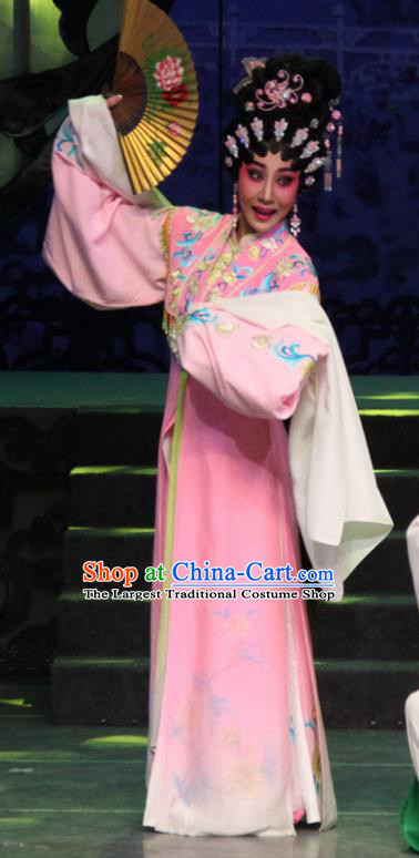 Chinese Cantonese Opera Diva Garment The Peony Pavilion Costumes and Headdress Traditional Guangdong Opera Hua Tan Apparels Rich Lady Du Liniang Pink Dress