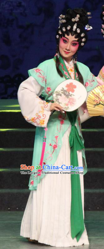 Chinese Cantonese Opera Servant Girl Garment The Peony Pavilion Costumes and Headdress Traditional Guangdong Opera Xiaodan Apparels Chun Xiang Green Dress