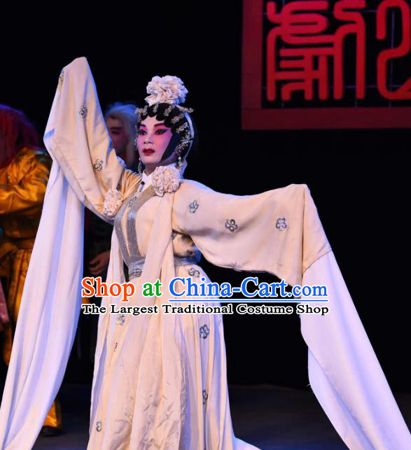 Chinese Cantonese Opera Distress Maiden Garment The Peony Pavilion Costumes and Headdress Traditional Guangdong Opera Young Female Apparels Diva Du Liniang Dress