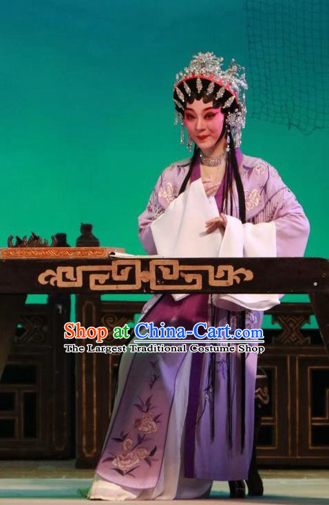 Chinese Cantonese Opera Hua Tan Garment The Peony Pavilion Costumes and Headdress Traditional Guangdong Opera Young Female Apparels Diva Du Liniang Purple Dress