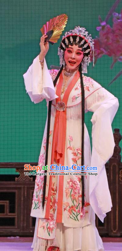 Chinese Cantonese Opera Rich Lady Garment The Peony Pavilion Costumes and Headdress Traditional Guangdong Opera Hua Tan Apparels Diva Du Liniang White Dress