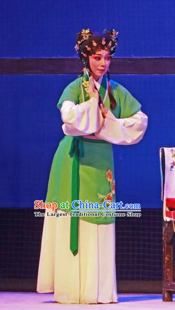 Chinese Cantonese Opera Maid Lady Garment The Peony Pavilion Costumes and Headdress Traditional Guangdong Opera Xiaodan Apparels Chun Xiang Green Dress