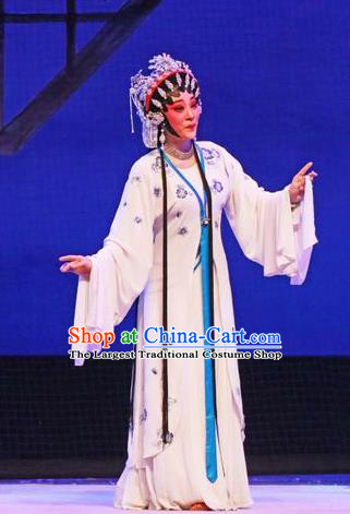 Chinese Cantonese Opera Actress Du Liniang Garment The Peony Pavilion Costumes and Headdress Traditional Guangdong Opera Young Female Apparels Distress Maiden Dress
