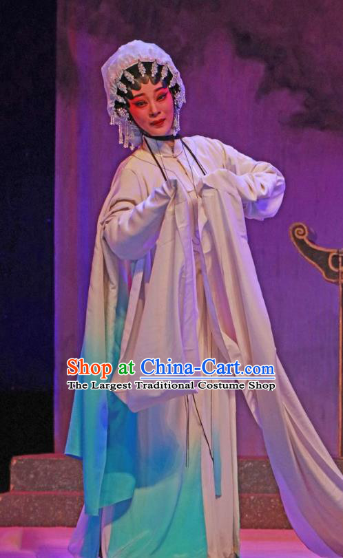 Chinese Cantonese Opera Tsing Yi Garment The Peony Pavilion Costumes and Headdress Traditional Guangdong Opera Distress Maiden Apparels Diva Du Liniang Dress