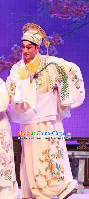 The Peony Pavilion Chinese Guangdong Opera Xiaosheng Apparels Costumes and Headpieces Traditional Cantonese Opera Young Male Garment Scholar Liu Mengmei Clothing