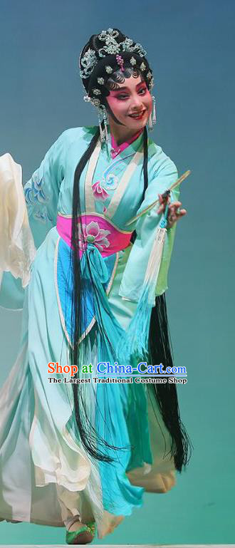 Chinese Cantonese Opera Xiaodan Xiao Qing Garment The Fairy Tale of White Snake Costumes and Headdress Traditional Guangdong Opera Young Lady Apparels Blue Dress