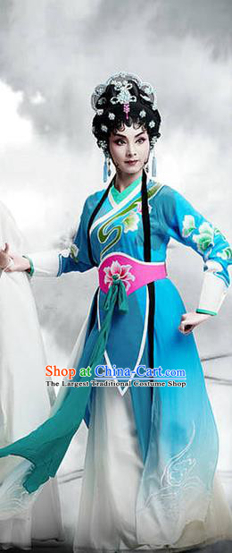 Chinese Cantonese Opera Young Lady Garment The Fairy Tale of White Snake Costumes and Headdress Traditional Guangdong Opera Xiaodan Apparels Diva Xiao Qing Blue Dress