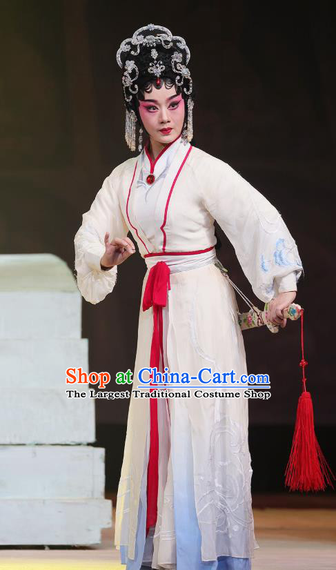 Chinese Cantonese Opera Actress Garment The Fairy Tale of White Snake Costumes and Headdress Traditional Guangdong Opera Bai Suzhen Apparels Hua Tan Dress