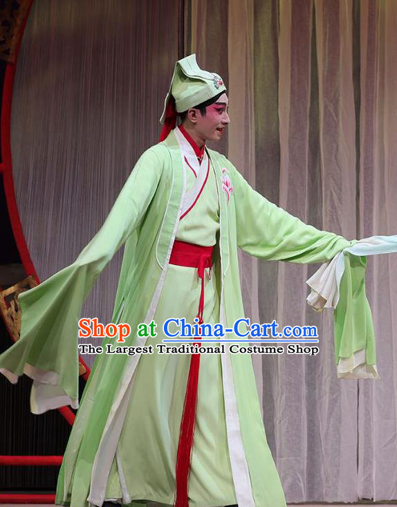 The Fairy Tale of White Snake Chinese Guangdong Opera Scholar Xu Xian Apparels Costumes and Headpieces Traditional Cantonese Opera Xiaosheng Garment Clothing
