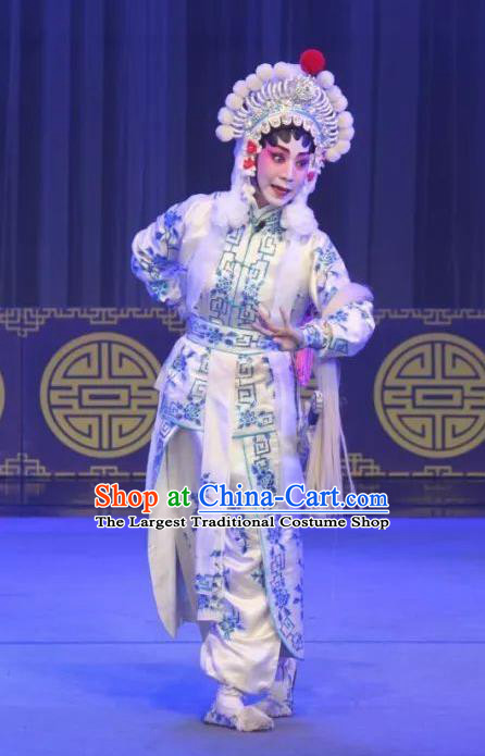 Chinese Cantonese Opera Wudan Garment The Fairy Tale of White Snake Xiao Qing Costumes and Headdress Traditional Guangdong Opera Bai Suzhen Apparels Martial Female Dress