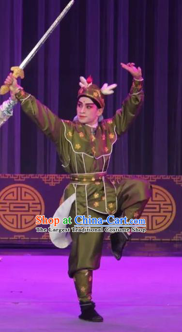The Fairy Tale of White Snake Chinese Guangdong Opera Wusheng Apparels Costumes and Headpieces Traditional Cantonese Opera Swordsman Garment Martial Male Clothing
