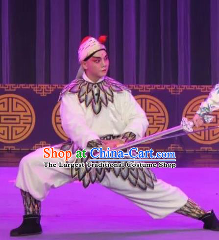 The Fairy Tale of White Snake Chinese Guangdong Opera Martial Male Apparels Costumes and Headpieces Traditional Cantonese Opera Swordsman Garment Wusheng Clothing