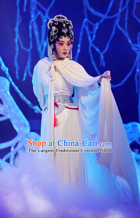 Chinese Cantonese Opera Martial Female Garment The Fairy Tale of White Snake Costumes and Headdress Traditional Guangdong Opera Wudan Apparels Bai Suzhen White Dress
