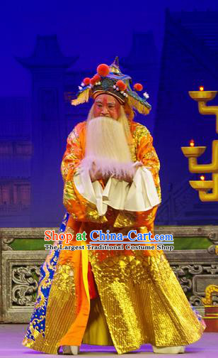 Chinese Guangdong Opera Elderly Male Wu Zixu Apparels Costumes and Headpieces Traditional Cantonese Opera Laosheng Garment Duke Clothing