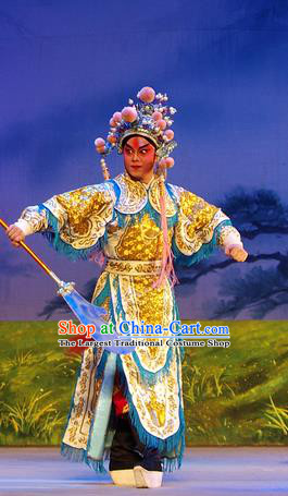 Chinese Guangdong Opera Martial Male Apparels Costumes and Headpieces Traditional Cantonese Opera Wusheng Garment General Armor Clothing