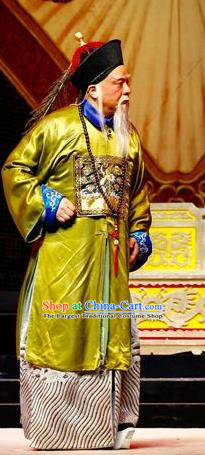 Prince Rui and Concubine Zhuang Chinese Guangdong Opera Elderly Male Apparels Costumes and Headpieces Traditional Cantonese Opera Garment Qing Dynasty Official Clothing