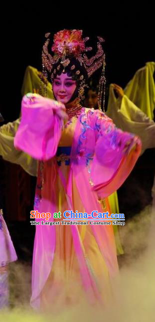 Chinese Cantonese Opera Imperial Consort Garment Prince Rui and Concubine Zhuang Costumes and Headdress Traditional Guangdong Opera Hua Tan Apparels Qing Dynasty Dress