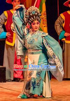 Chinese Cantonese Opera Young Beauty Garment Prince Rui and Concubine Zhuang Costumes and Headdress Traditional Guangdong Opera Apparels Hua Tan Da Yuer Dress