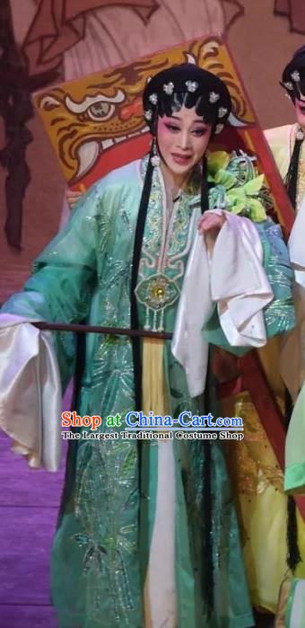 Chinese Cantonese Opera Diva Garment Hua Yue Ying Costumes and Headdress Traditional Guangdong Opera Young Beauty Apparels Hua Tan Du Caiwei Green Dress