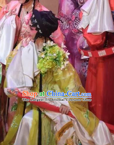 Chinese Cantonese Opera Actress Garment Hua Yue Ying Costumes and Headdress Traditional Guangdong Opera Hua Tan Du Caiwei Apparels Young Beauty Dress