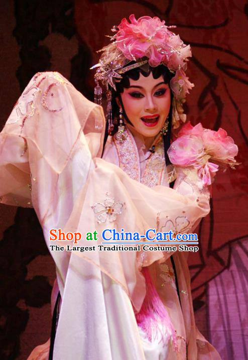 Chinese Cantonese Opera Young Beauty Garment Hua Yue Ying Costumes and Headdress Traditional Guangdong Opera Actress Apparels Diva Du Caiwei Dress