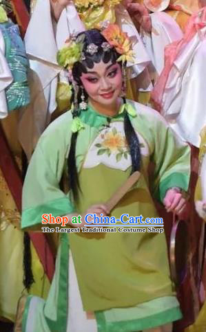 Chinese Cantonese Opera Xiaodan Garment Hua Yue Ying Costumes and Headdress Traditional Guangdong Opera Servant Girl Apparels Yu Lan Dress