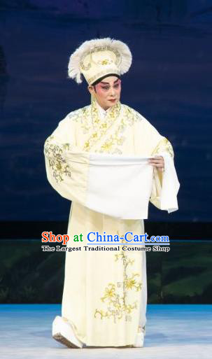 The Fairy Tale of White Snake Chinese Guangdong Opera Xu Xian Apparels Costumes and Headpieces Traditional Cantonese Opera Garment Xiaosheng Clothing
