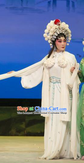 Chinese Cantonese Opera Swordswoman Garment The Fairy Tale of White Snake Costumes and Headdress Traditional Guangdong Opera Martial Female Apparels Bai Suzhen Dress