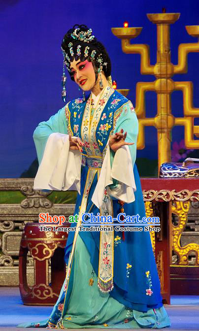 Chinese Cantonese Opera Young Beauty Garment Costumes and Headdress Traditional Guangdong Opera Diva Xi Shi Apparels Hua Tan Blue Dress