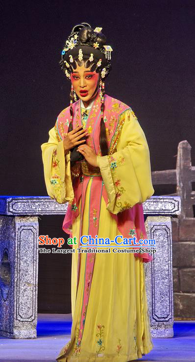 Chinese Cantonese Opera Imperial Consort Xi Shi Garment Costumes and Headdress Traditional Guangdong Opera Hua Tan Apparels Young Female Dress