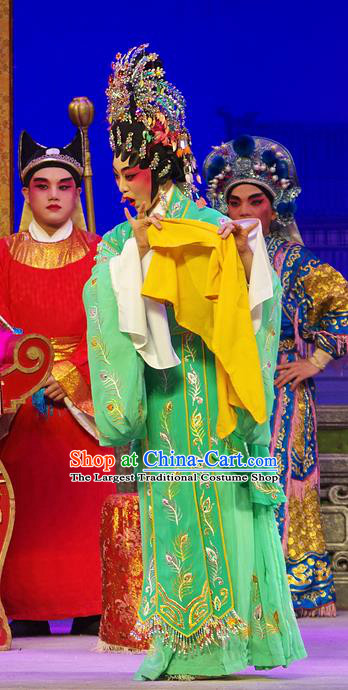Chinese Cantonese Opera Hua Tan Zheng Dan Garment Costumes and Headdress Traditional Guangdong Opera Imperial Consort Apparels Court Woman Green Dress