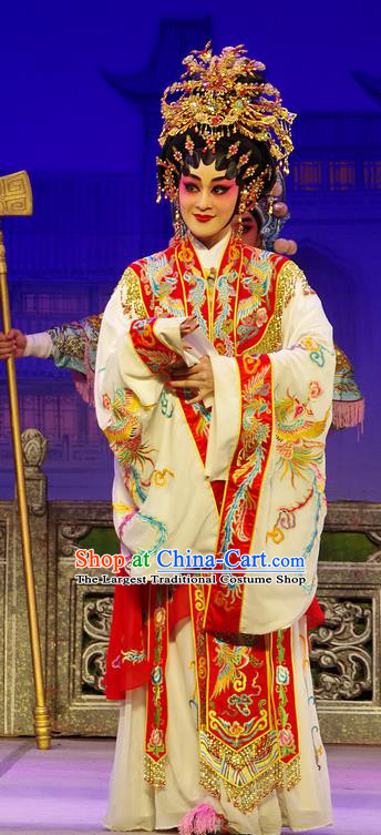 Chinese Cantonese Opera Royal Queen Xi Shi Garment Costumes and Headdress Traditional Guangdong Opera Imperial Empress Apparels Hua Tan Dress