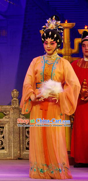 Chinese Cantonese Opera Actress Garment Costumes and Headdress Traditional Guangdong Opera Hua Tan Apparels Diva Xi Shi Dress