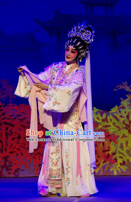 Chinese Cantonese Opera Queen Xi Shi Garment Costumes and Headdress Traditional Guangdong Opera Hua Tan Apparels Imperial Consort Dress