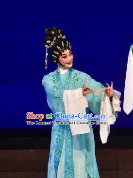 Chinese Cantonese Opera Diva Xi Shi Garment Costumes and Headdress Traditional Guangdong Opera Hua Tan Apparels Young Beauty Blue Dress
