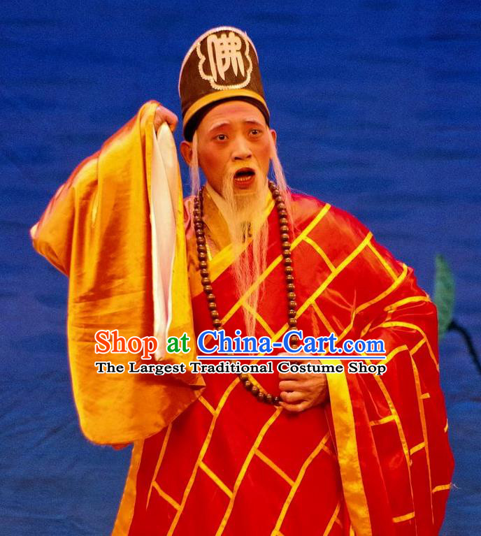 Qian Tang Su Xiaoxiao Chinese Guangdong Opera Monk Apparels Cassock Costumes and Headpieces Traditional Cantonese Opera Abbot Garment Clothing