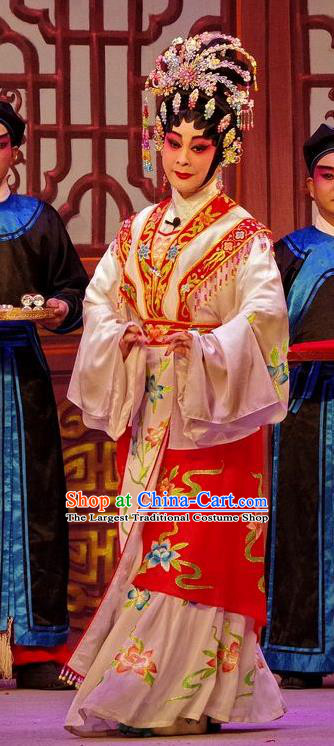 Chinese Cantonese Opera Diva Garment Qian Tang Su Xiaoxiao Costumes and Headdress Traditional Guangdong Opera Young Female Apparels Hua Tan Dress