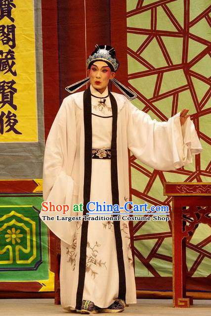 Qian Tang Su Xiaoxiao Chinese Guangdong Opera Xiaosheng Apparels Costumes and Headpieces Traditional Cantonese Opera Childe Garment Scholar Ruan Yu Clothing