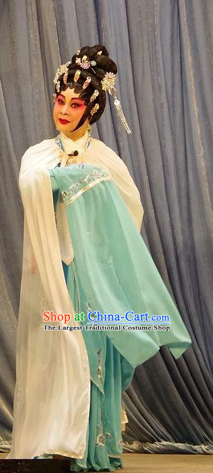 Chinese Cantonese Opera Actress Garment Qian Tang Su Xiaoxiao Costumes and Headdress Traditional Guangdong Opera Courtesan Apparels Hua Tan Green Dress