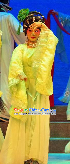 Chinese Cantonese Opera Dance Lady Garment Qian Tang Su Xiaoxiao Costumes and Headdress Traditional Guangdong Opera Xiaodan Apparels Figurant Dress
