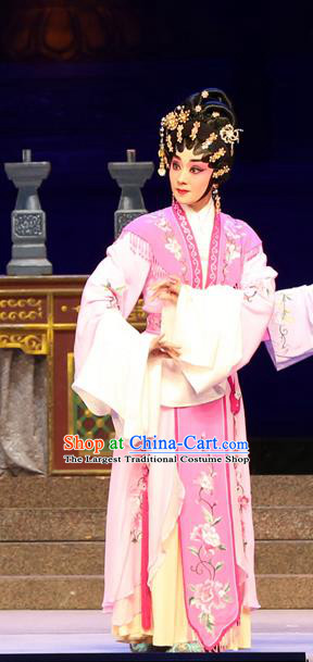 Chinese Cantonese Opera Rich Lady Garment Legend of Lun Wenxu Costumes and Headdress Traditional Guangdong Opera Hua Tan Apparels Actress Dress