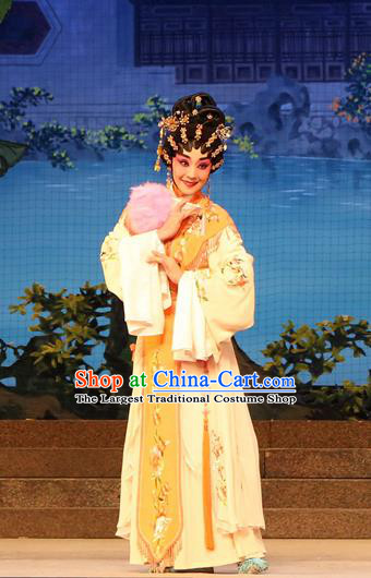 Chinese Cantonese Opera Young Beauty Garment Legend of Lun Wenxu Costumes and Headdress Traditional Guangdong Opera Rich Lady Apparels Hua Tan Pink Dress